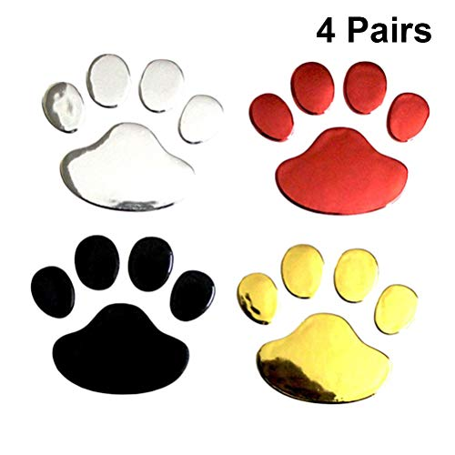 YeahiBaby Pegatinas Adhesivas para Coche Diseño de Huellas de Perros para Decoración de Vehículo 4 Pares (Rojo + Plata + Oro + Negro)