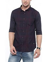 SHOWOFF Mens Blue Checks Casual Shirts