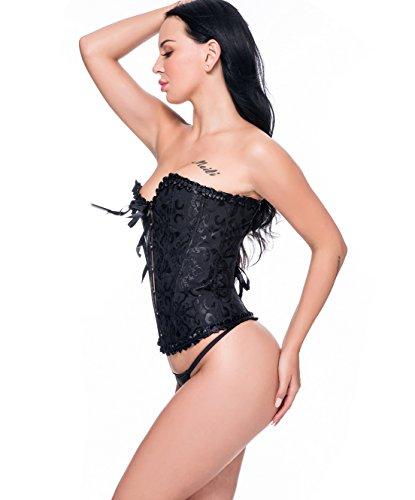 Beauty-You Damen Gothic Korsett Braut Corsage Mieder Geschnürt Plus Size Bustier Schwarz