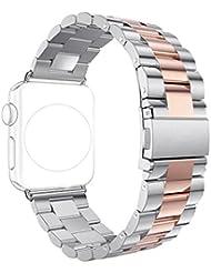 Correa Apple Watch 38mm,Correas iWatch Rosa Schleife Banda Apple Watch Series 2 Series 1 Pulsera de Banda Reloj Apple Acero Inoxidable Metálica Cierre Bucle Pulsera Strap para Apple Watch Deportive/Edition