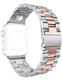 Correa para Apple Watch Series 2 / 1, Rosa Schleife iWatch WristBand Reemplazo de Banda Smart Watch Band de Reloj de Acero Inoxidable Metálica Pulsera Strap para Apple Watch 42mm
