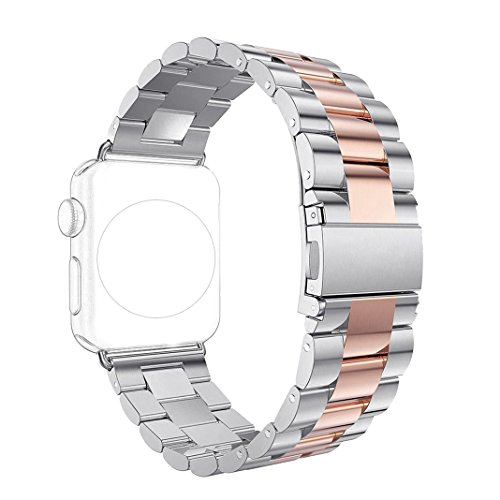 Armband für Apple Watch 38MM, Rosa Schleife iWatch Band Classic Solides Edelstahl Gliederarmband Replacement Wristband Series 2 Watch Strap Stainless Uhrenarmband Ersatzband mit Metallschließe für Apple Watch Series 2 / Series 1 / Sports Edition 38mm (Lockere Passform Band)