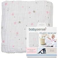 BABY SENSE Manta receptora de Muselina Ba Sense - Suave, Cómoda, Segura, 100