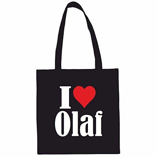 Sac à Bandoulière I Love Olaf Shopping Bag Sac d'école Sac de Sport 38x 42cm en Noir ou Blanc.. Le cadeau parfait pour votre amoureux