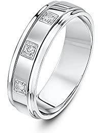 Theia 9ct White Gold Flat Court Shape 0.06ct Round Trilogy Diamond Prong Set 5mm Wedding Ring
