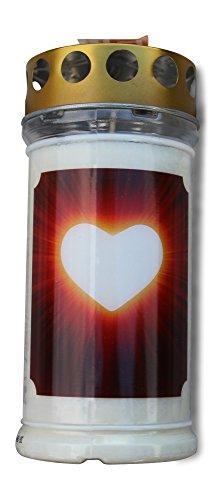 Ambrosius Grablicht 4-5 Tage lange Brenndauer Herz wetterfest groß Grabkerze Motiv Sturmdeckel farbig (Herz)