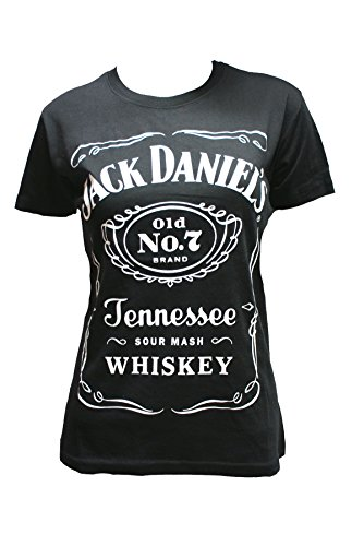Jack Daniel' s Old No 7 - da donna, maniche corte, colore: nero Black Medium