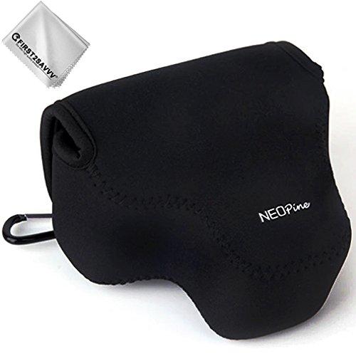 First2savvv schwarz Flexible Neopren DSLR/SLR Kameratasche für Nikon COOLPIX P610 P600 P530 P520 P510 P500 + Reinigungstuch - QSL-P520-01G11 (Nikon P600 Kamera)