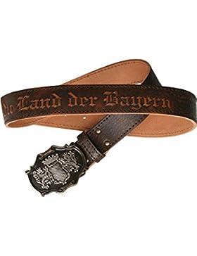 Stahlheber Herren Trachtengürtel mit Prägung 'Bayern-Hymne', büffel,