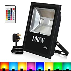LED RGB Flood Lights, T-Sunrise 100W Super Bright Outdoor Security Wall Light, Remote Control, Color Changing IP65 Waterproof with UK Plug for Garden, Yard, Warehouse Sidewalk