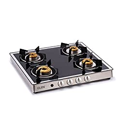 Glen Stainless Steel 4 Burner Gas Stove, Black/Silver (CT1042GTFBMAI)