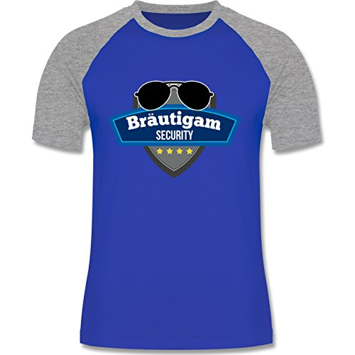 Shirtracer JGA Junggesellenabschied - Bräutigam Security Police - Herren Baseball Shirt Royalblau/Grau meliert