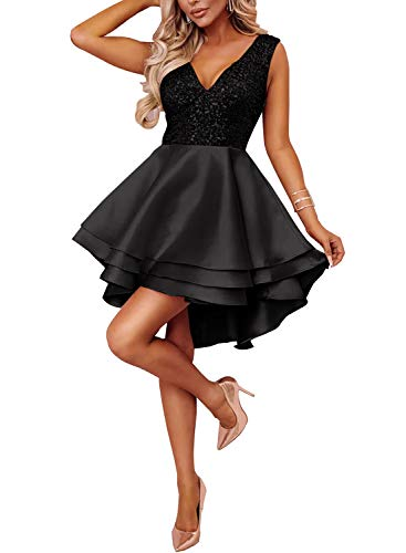 Ancapelion Damen Kleid Sexy V-Ausschnitt Mini Kleider mit Glänzend ärmellose Pailletten Schlank Kurz Ausgestellt Skater Kleider für Party/Abend/Verein/Cocktail/Formal, Schwarz, M(EU ()