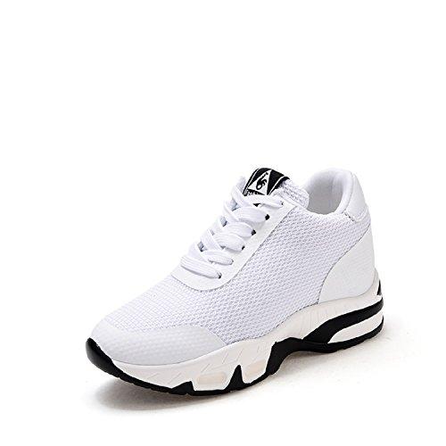 H-Mastery Damen Sneakers mit Keilabsatz 8cm Wedges Sportschuhe Freizeit Fitness Bequem Outdoor Leicht High Schuhe(Weiß,Größe37)