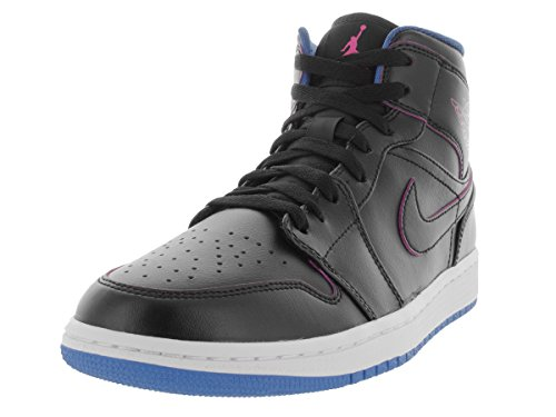 Nike Air Jordan 1 Mid, Chaussures de Sport Homme, Noir, Talla Black / Rosa / Azul (Black / Fire Pink-Photo Blue)