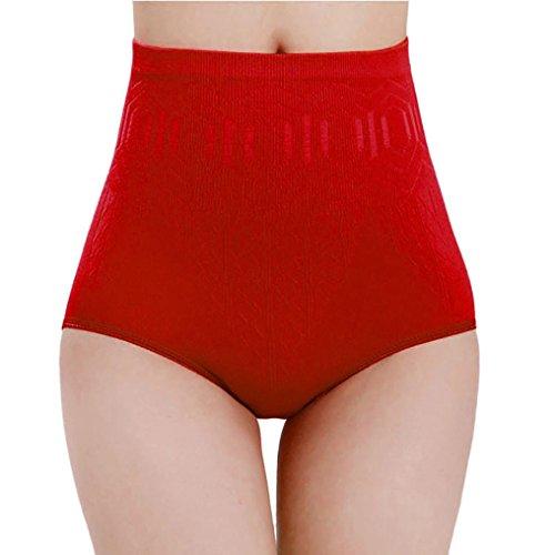 Höschen DEELIN Taillen-Körper-Former-Schriftsätze der hohen Taille der reizvollen Frauen, die Hosen abnehmen (Rot)