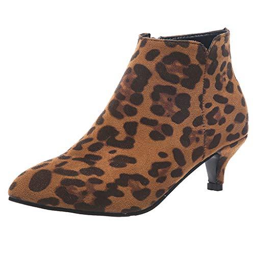 Stiefel Damen Kitten-Heel Einfarbiges Leopard Schlange Muster Stiefeletten Reißverschluss Spitzschuhe Knöchelbündchen Kurze Stiefel Schuhe Damenschuhe (39 EU, Khaki)
