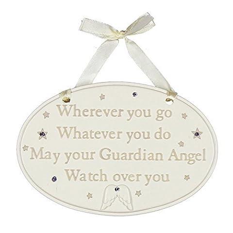 Bambino Baby Guardian Angel Plaque Ovale Décoration–partout où vous FO que vous ne peut Montre votre ange gardien sur vous