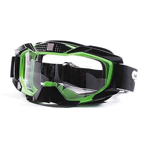 Fodsport Mototourisme Lunettes Homme / Femmes Motocross Lunettes Casques Lunettes Sport Gafas pour moto Lunettes de Protection de Visage pour Extérieur Activité Moto/Cross/VTT/Ski/Google/ Vélo Anti-UV Brouillard Soleil Len (Vert)