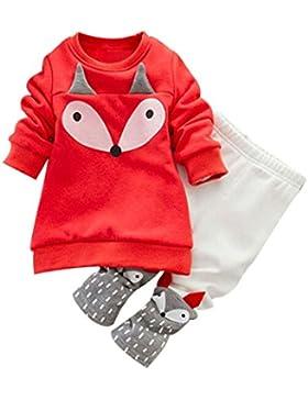 Hirolan Babykleidung Kleinkind Sweatshirt Outfits Baby Junge Mädchen Fuchs Drucken Lange Ärmel Plus Kaschmir Lange...