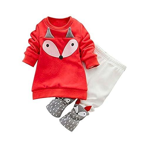 Hirolan Kleinkind Sweatshirt Outfits Baby Junge Mädchen Fuchs Drucken Lange Ärmel Plus Kaschmir Lange Hülse Top + Hosen Set Kleider (80cm, Orange)
