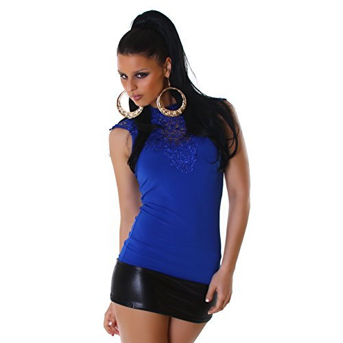 JELA London Femmes Top Shirt avec broderie Haut de party elegant Loisir Mode Bureau Business monté sur plusieurs couleurs Bleu
