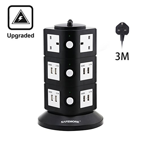 SAFEMORE Extension Lead Power Extension Adaptor 12 Way Plug Outlets Surge Protected with 8 USB Charger Ports (8.4A) Power Strip Extension Cord 3M for iPad Android Devices Tablet PSP & Power Bank ¡­ 41L4ASoywWL