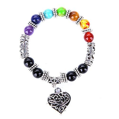 7 Chakras Yoga Meditation Heilung Balancing Runde Stein Perlen Stretch Armband Mit Liebe Herz (Liebe Mann-charme-armband)
