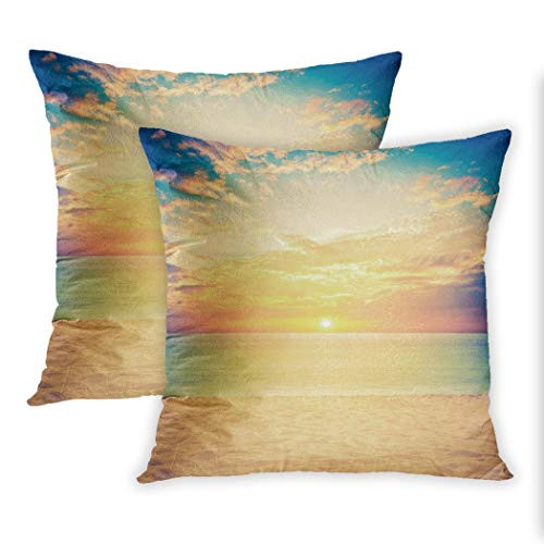 Nekkzi Cushion Covers Set of Two Print Blue Sand and Beach Sunset Retro Vintage Filter Effect Sofa Home Decorative Throw Pillow Cover 16x16 Inch Pillowcase Hidden Zipper -