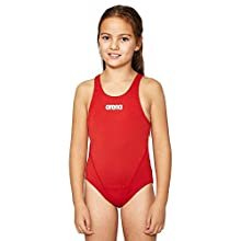 Arena G Jr Girls' Solid Swim Tech Sports Swimsuit, Girls, 2A262, Red-White, 12-13