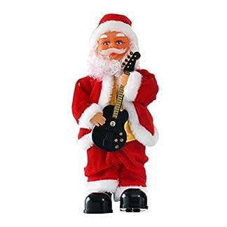 YeahiBaby Bailar y Cantar Papá Noel Juguete Peluche Papá Noel Muñeco de Navidad Operado a batería Musical Figura en Movimiento (Guitarra)