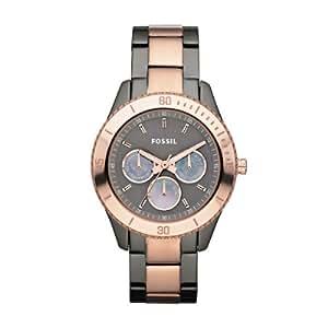 Fossil Damen-Armbanduhr Stella Multifunktion Analog Quarz Edelstahl beschichtet ES3030