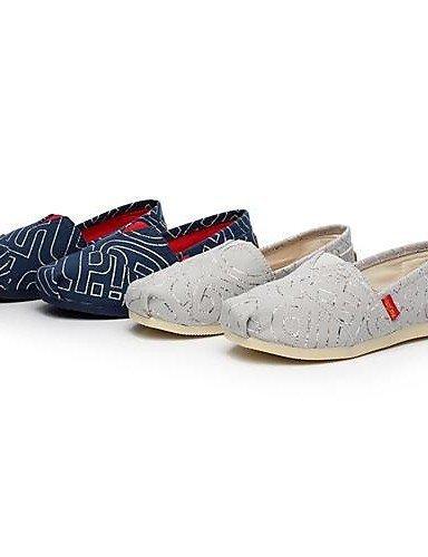 Chaussures Femme Shangyi - Mocassins - Décontracté - Bout Rond - Plat - Corde - Gris / Bleu Foncé Bleu