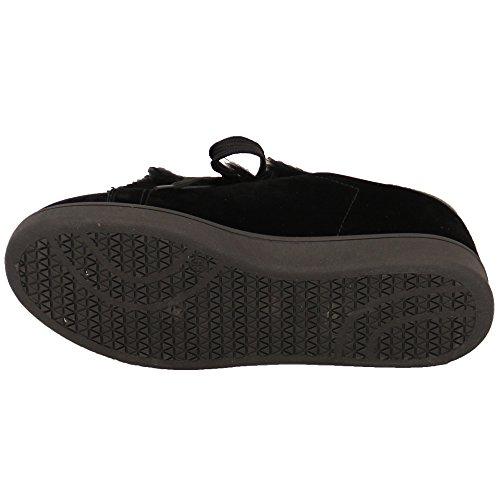 Pour Femmes Daim Look Plat Fourrue Baskets Femmes Chaussures Chaussures À Lacets Mode Décontractée Noir - 20169