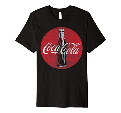 Coca-Cola Distressed Retro Bottle Disc Logo Premium T-Shirt