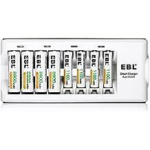 EBL 8 Stecker Akkuladegerät mit 4 Stück 2300mAh Mignon AA, 4 Stück Micro AAA 1100mAh NI-MH Wiederaufladbare Batterien(8 Fach Ladegerät+4 AA Akkus+4 AAA Akkus)