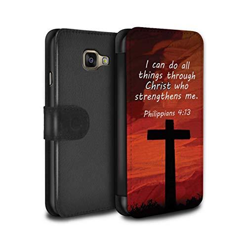 Stuff4® PU-Leder Hülle/Case/Tasche/Cover für Samsung Galaxy A5 (2016) / Christ Strengthens/Philippians Muster/Christliche Bibel Vers Kollektion