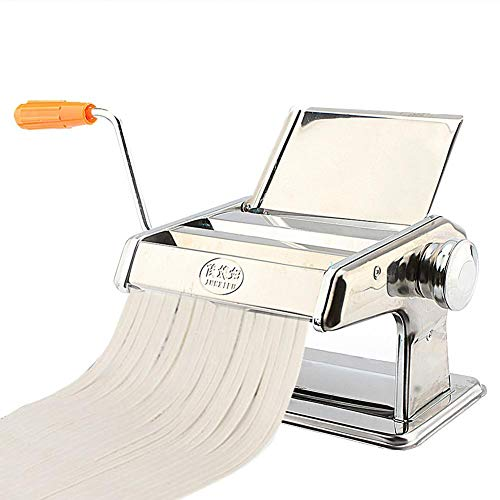 Zoternen Stainless Steel Manual Fresh Pasta Maker Machine for Fresh Homemade Fettuccine Spaghetti Lasagne Dough Roller Press Cutter Noodle Making Machine