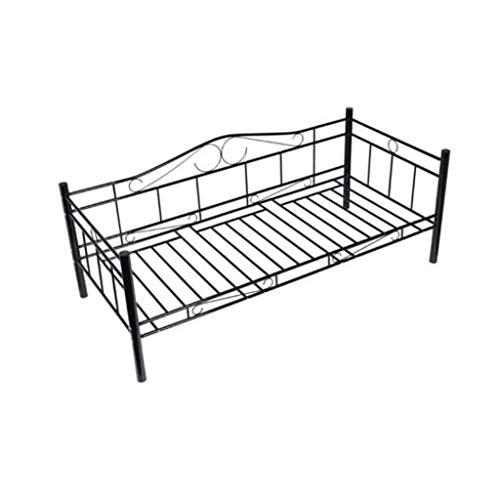 mewmewcat Bettgestell Einzelbett Metallbett Einzelbett mit Lattenrost 206 x 97 x 80 cm Metall