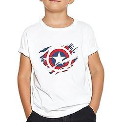 OKAPY Camiseta Capitan America. Una Camiseta de Niño con el Escudo de Capitán América Rasgado.Camiseta Friki de Color Blanco