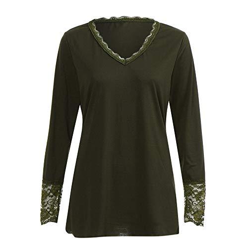 OSYARD Damen Lose Spitze Patchwork Solid Plus Größe Shirt, Frauen Casual Langarm V-Ausschnitt Spitze Tops Solid Lose Shirts Bluse Tops (M, Grün)