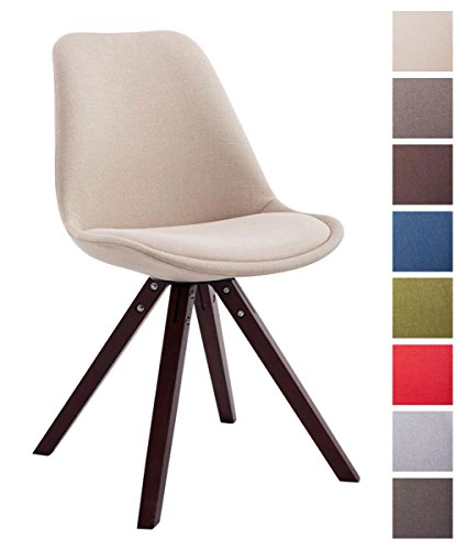 CLP Sedia dal design vintage TOULOUSE con gambe quadrate in legno color cappuccino, seduta in tessuto e imbottita. crema