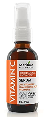 60ML Professional strength 20% VITAMIN C SERUM for face with Hyaluronic Acid & Vitamin E moisturizer – Certified Organic anti-wrinkle face serum - Anti-Aging, Hydrates skin Reduces Age Spots & Dark Circles,Best skin care serum,Repairs Sun Damage. Excellent for sensitive