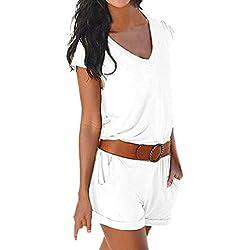 HLIYY Womens Summer Strap Mini Combishort Mesdames Eté Jumpsuit Robe De Plage Rompers Manches Partie de Soirée Combinaisons Jumpsuit Pantalons