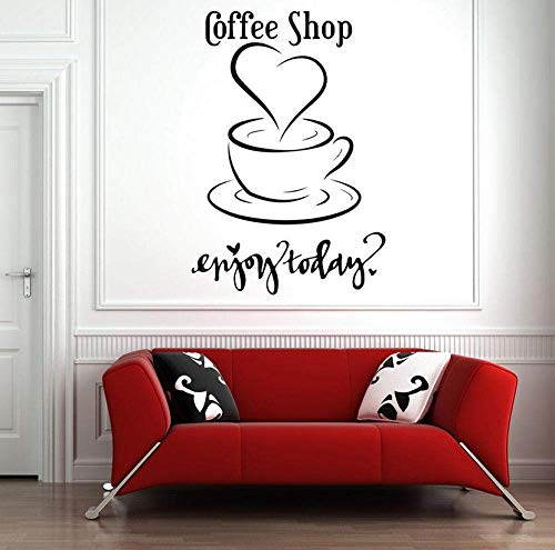 Coffee Shop Wall Decal Cup Enjoy Today Quotes Vinyl Wall Sticker Diseño De Interiores Love Coffee Window Decals Self Stic 42X61Cm