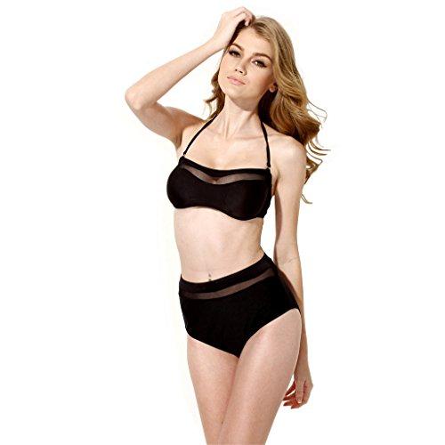 Colloyes Damen Mesh hohe Taille Vintage Bikini Sets Bademode Frauen Badeanzug Bandeau Tops und Bottom Schwarz L