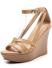 Meng Wei Shop Sommer neue Damen Sandalen Hang mit dicken wasserdichten Plattform Wort Schnalle Sandalen ultrahohe...