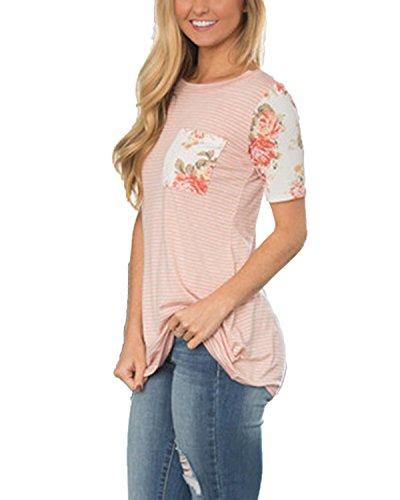 ... Auxo Damen Kurzarm Streifen Printing Party Club Slim T-Shirt Oberteil  Tunika Tops Rosa ...