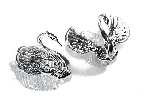 Confezione da 24scatole per confetti con cigni argento con ali volanti, modello:s17s24