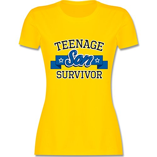 Muttertag - Teenage Son Survivor - tailliertes Premium T-Shirt mit Rundhalsausschnitt für Damen Gelb